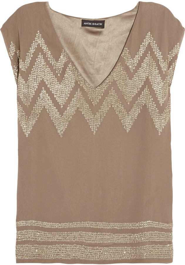 Antik Batik Ross sequined georgette top