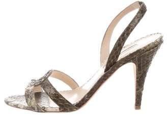 Oscar de la Renta Snakeskin Slingback Sandals