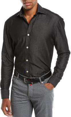 Kiton Men's Chambray Sport Shirt