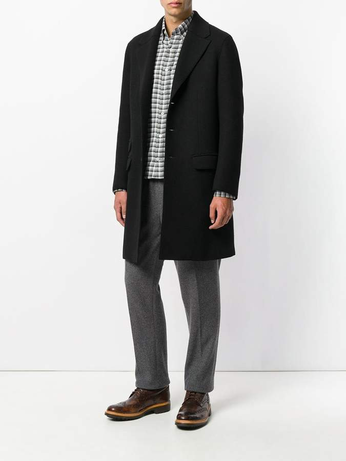 Canali modern fit checked shirt