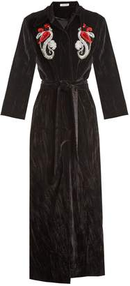 ATTICO Mia embellished cotton-velvet robe coat