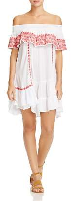 Muche et Muchette Gavin Embroidered Off-the-Shoulder Ruffle Dress Swim Cover-Up