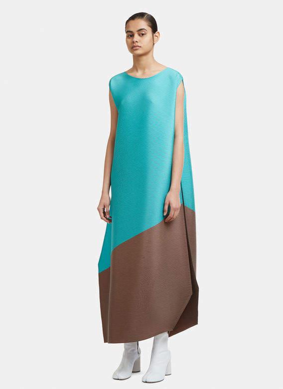 Horizon Sleeveless Dress in Green and Brown
