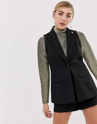 Miss Selfridge tailored vest in black