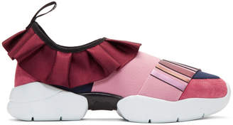 Emilio Pucci Pink and Navy Metallic Ruffle Sneakers