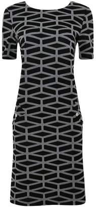 Wallis Grey Block Jacquard Shift Dress