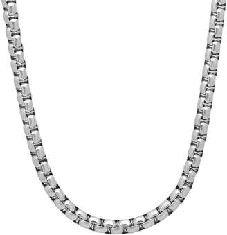 """Factory The Bling Durable Stainless Steel 5mm Rounded Box Link Chain Necklace, 24"""" + Microfiber Jewelry Polishing Cloth"""