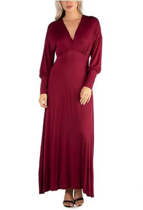 24seven Comfort Apparel Women Formal Long Sleeve Maxi Dress
