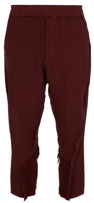 By Walid - Hiro Crochet Trim Linen Trousers - Mens - Purple