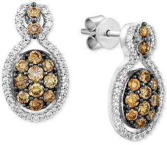 LeVian Le Vian Chocolatier® Diamond Cluster Drop Earrings (1 ct. t.w.) in 14k White Gold
