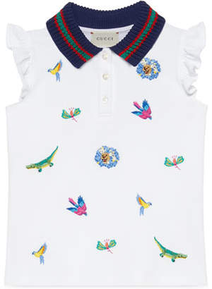 007334a1cd84 Gucci Animal Embroidered Polo Shirt w/ Knit Collar, Size 4-12