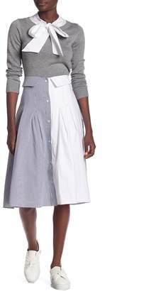 ENGLISH FACTORY Split Button Down Midi Skirt