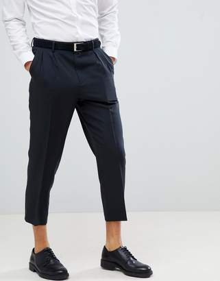 Asos Design DESIGN Tapered Smart Pant In Black With Double Pleat