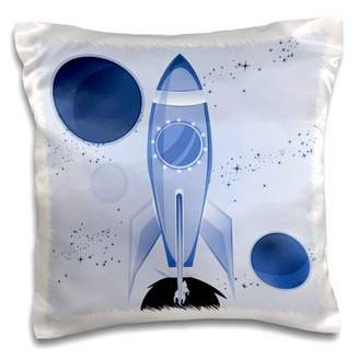 3dRose Boys Rocket Ship With Planets Design On A Light Blue Background - Pillow Case, 16 by 16-inch