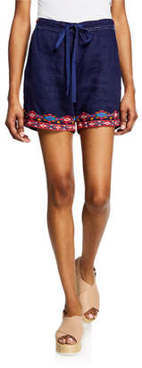 Johnny Was Plus Size Etienne Drawstring Linen Shorts w/ Embroidered Trim