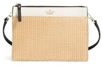 Kate Spade Kate Spade New York Cameron Street - Clarise Raffia & Leather Shoulder Bag - Beige
