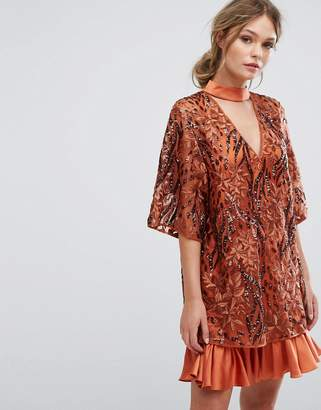 Three floor Embroidered Shift Dress With Kimono Sleeve