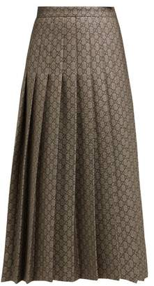 Gucci Gg Monogram Pleated Cotton Blend Midi Skirt - Womens - Grey Multi
