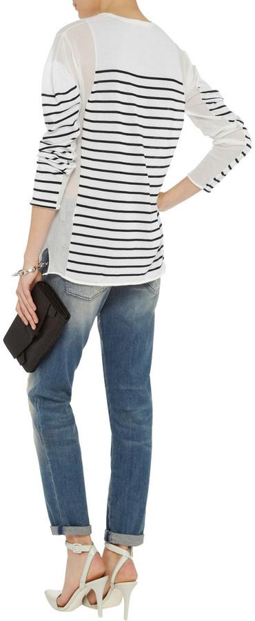 Alexander Wang Striped fine-knit cotton-blend sweater