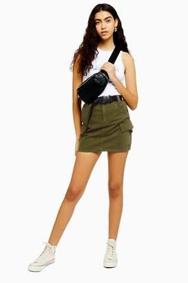 Topshop TALL Khaki Clip Belt Denim Skirt