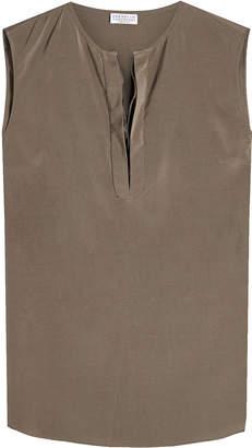 Brunello Cucinelli Sleeveless Silk Blouse with Embellishment