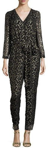 kate spade new york long-sleeve metallic silk chiffon jumpsuit, Black/Gold