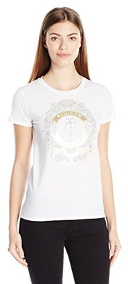 Juicy Couture Black Label Women's Logo Banner Crest Short Sleeve Tee $68 thestylecure.com