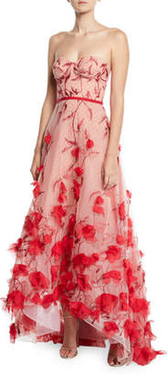 Marchesa Strapless 3D Floral Embroidered High-Low Gown