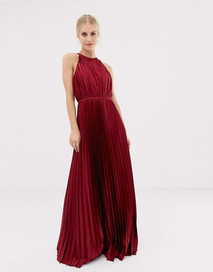 Chi Chi London high neck satin maxi dress in oxblood