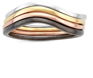 Multi-Tone Sterling Silver Wave Stackable Ring Set
