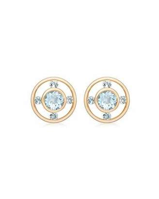 Kiki McDonough Forget Me Not 18k Gold & Blue Topaz Stud Earrings