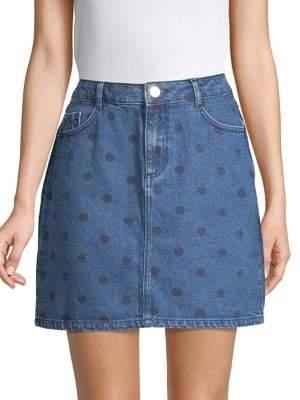 Dorothy Perkins Polka Dot Denim Mini Skirt