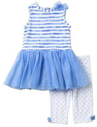 Little Me Hearts & Stripes Dress & Capri Set (Baby Girls)