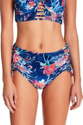 Betsey Johnson Floral Velvet High-Waisted Bikini Bottom