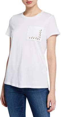 Donna Karan Crewneck Short-Sleeve Tee w\/ Stud Chest Pocket