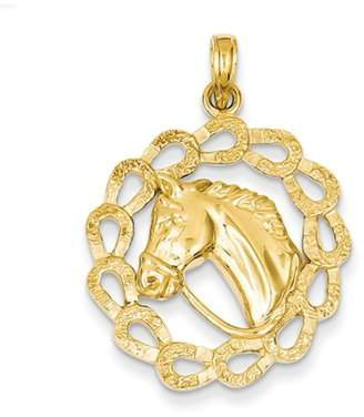 Best Price Product 14k Solid Polished Horse Head in Horseshoes Pendant