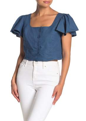 Band of Gypsies Vancouver Flutter Sleeve Button Crop Top