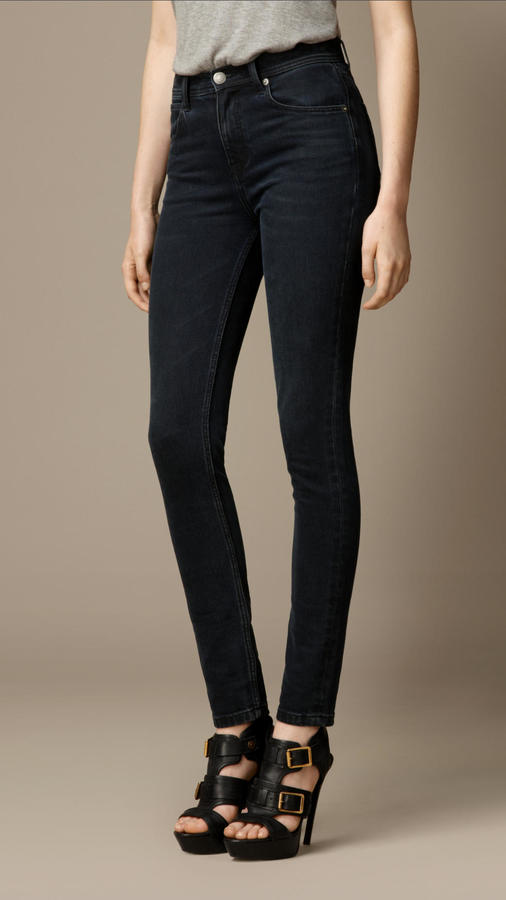 Burberry Skinny Fit High-Rise Washed Indigo Jeans