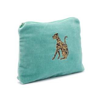Graham and Green Leopard Velvet Pouch