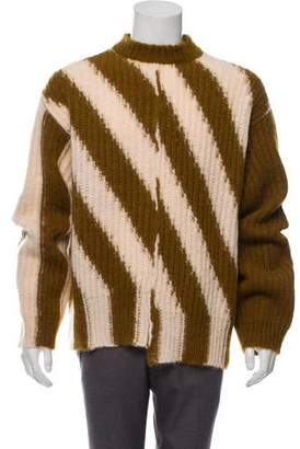 Calvin Klein Wool Bias Seam Striped Knit Sweater