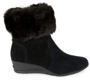 Conscious Suede and Faux Fur-Trimmed Booties