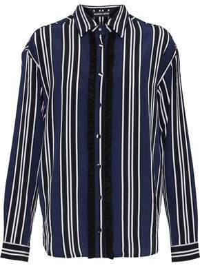 Markus Lupfer Clara Ruffle-Trimmed Striped Silk Shirt