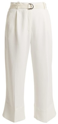 Moncler High Rise Crepe Cropped Trousers - Womens - Cream