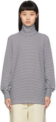 Noah NYC Black and White Stripe Turtleneck Long Sleeve T-Shirt