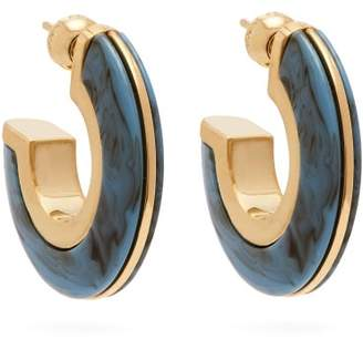 Burberry Marbled Hoop Earrings - Womens - Blue