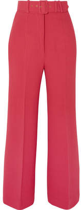 Emilia Wickstead Jana Belted Wool-crepe Wide-leg Pants - Red