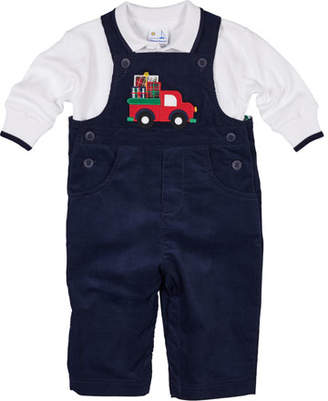Florence Eiseman Pocket Full of Presents Overalls w/ Long-Sleeve Polo Top, Size 6-24 Months