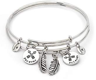 Forever Friends Chrysalis By Silver Willow Chrysalis, Set of two Rhodium plate expandable bangles. Keep one for yourself and share the other with the person you hold closest to your heart.