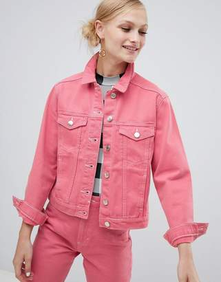 Monki denim jacket in pink