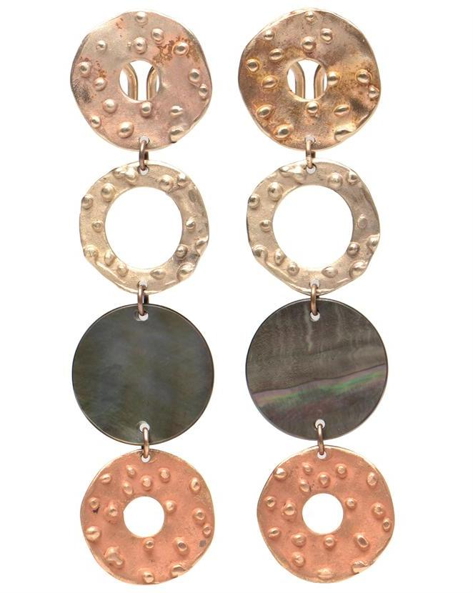 PINTALDI MAURIZIO 18K Dotted Gold and Mother of Pearl Drop Earrings